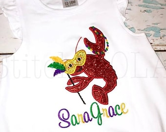 Crawfish with Mask and Beads Mardi Gras Applique, Mardi Gras Applique, Mardi Gras Shirt, Crawfish Applique, Crawfish with Beads