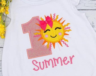 Sunshine Birthday Number Applique, Sun Birthday Applique, Summer Birthday Applique, Birthday Applique