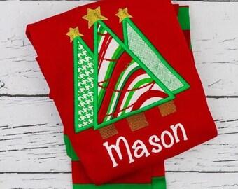 PRE-ORDER Christmas Tree Trio Applique, Personalized Christmas Pajamas, Kids Christmas Pajamas, Polar Express Pajamas, XMAS Pajamas, Monogra