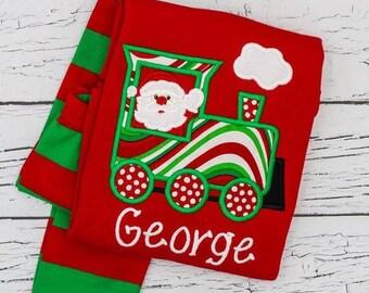 PRE-ORDER Santa Train Applique, Personalized Christmas Pajamas, Kids Christmas Pajamas, Polar Express Pajamas, XMAS Pajamas, Monogra