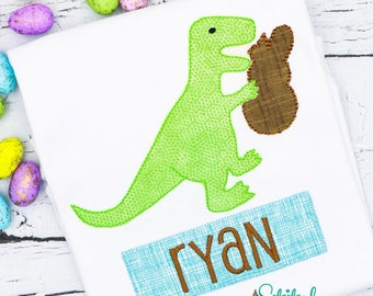 Dinosaur Easter Applique, Dinosaur Bunny Applique, T-Rex Bunny Applique, Boys Easter Applique, boys Easter Shirt