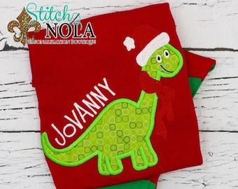 PRE-ORDER Santa Dinosaur Applique, Personalized Christmas Pajamas, Kids Christmas Pajamas, Polar Express Pajamas, XMAS Pajamas, Monogra