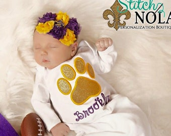 Tiger Paw Applique, Glitter Tiger Paw Gown, Bodysuit or T-Shirt