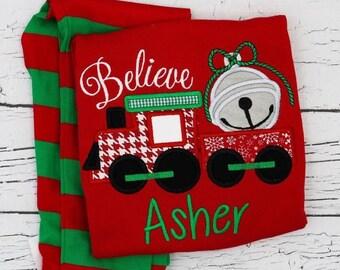 PRE-ORDER Believe Train Applique, Personalized Christmas Pajamas, Kids Christmas Pajamas, Polar Express Pajamas, XMAS Pajamas, Monogra