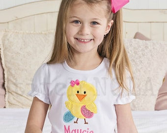 Girl Chick with Easter Eggs Shirt, Gown or Bodysuit, Easter Chick Shirt, Chick Applique, Girl Chick Shirt, Easter Shirt, Girl Easter Outfit