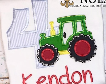 Tractor Birthday Shirt, Tractor Applique, Tractor Birthday, Tractor Shirt