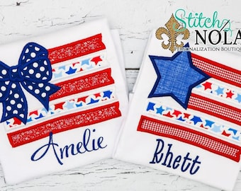 Flag with Bow Applique, Flag with Star Applique, STAR FLAG Tee,  Patriotic Applique, Flag Applique