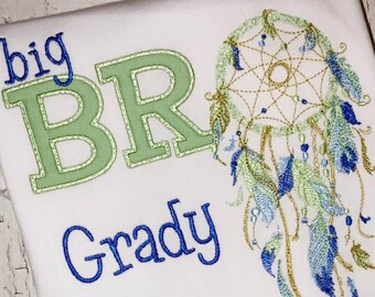 Dream Catcher Sibling Set, Dream Catcher Big Brother, Dream Catcher Big Bro, Dream Catcher Applique, Wild One Applique