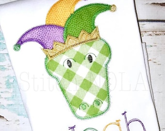 Jester Hat Gator Head, Mardi Gras Gator Applique, Gator Applique, Mardi Gras Applique, Boy Gator Shirt