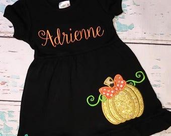Golden Pumpkin Dress, Pumpkin Applique, Fall Dress, Black Ruffle Dress, Black Empire Waist Dress,Black Halloween Dress, Halloween Applique