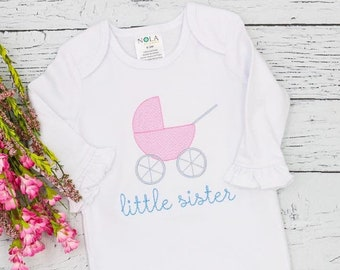 Little Sister Sketch Personalized, Vintage Baby Carriage , Little Sister Embroidery, Little Sister Baby Gown