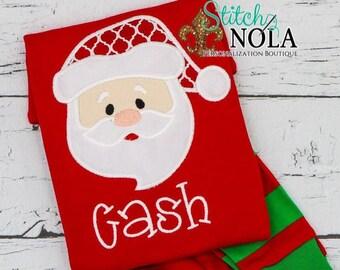 PRE-ORDER Santa Claus Applique, Personalized Christmas Pajamas, Kids Christmas Pajamas, Polar Express Pajamas, XMAS Pajamas, Monogra