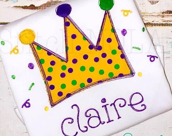 Mardi Gras Crown Applique, Crown Applique,  Mardi Gras Applique, Mardi Gras Festive Crown Applique,  Mardi Gras Shirt