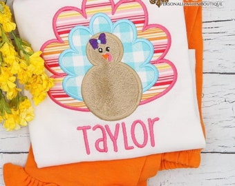 Girls Thanksgiving Turkey Applique Set, Personalized Thanksgiving Outfit, Top and Bottom Set, Turkey Shirt