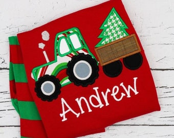 Christmas Tractor Applique Red & Green Christmas Pajamas, Tractor Applique, Polar Express Pajamas, XMAS Pajamas, Christmas Applique