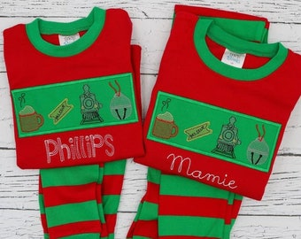 PRE-ORDER Polar Express Vintage Sketch with Patch  Applique, Personalized Christmas Pajamas, Kids Christmas Pajamas, Polar Express Pajamas