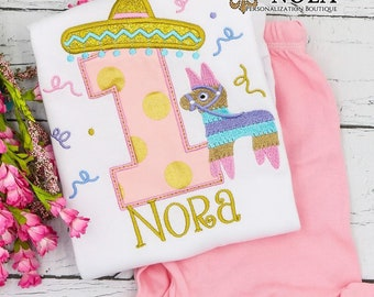 Fiesta Birthday Top and Shorts Set, Mexican Fiesta Birthday, Pinata Birthday, Sombrero Birthday, Girl Fiesta Birthday, Taco Party