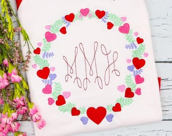 Heart Wreath Monogram, Valentine's Day Outfit, Heart Embroidery, Girls Valentine's Day Shirt, Monogram Embroidery