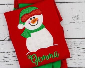 Snowman Applique Red & Green Christmas Pajamas, Snowman Applique, Polar Express Pajamas, XMAS Pajamas, Christmas Applique