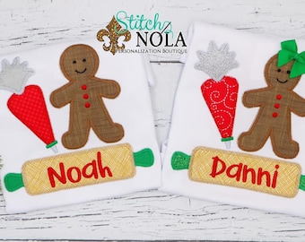 GingerBread Man Christmas Cookie Applique, Gingerbread Girl Christmas Cookie Appliqué, Christmas Cookies