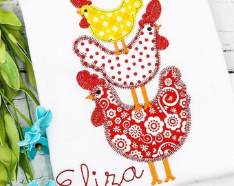 Chicken Applique, Chicken Shirt, Stacked Chicken Applique, Spring Applique, Summer Applique, Toddler Shirt