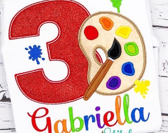 Paint Party Birthday Shirt, Painting Birthday, Paint Palette and Paint Brush Birthday, Painting Applique, Painting, Paint Birthday Applique