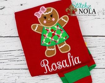 PRE-ORDER Gingerbread Applique, Personalized Christmas Pajamas, Kids Christmas Pajamas, Polar Express Pajamas, XMAS Pajamas, Monogrammed PJs