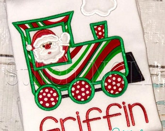 Santa Train Shirt, Train with Santa Applique, Santa Train Shirt, Santa Train, Santa Applique, Santa Christmas Shirt,  Boy Christmas Applique