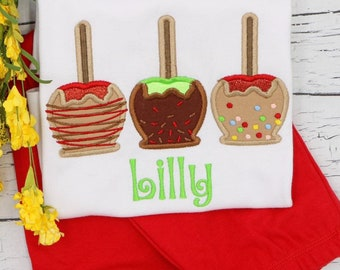 Candy Apple Applique Outfit, Top and Bottom Set, Fall Applique, Fall Festival Outfit, Fall Shirt, Candy Apple Trio