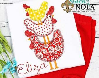 Chickens Top and Shorts Set Applique, Chicken Shirt, Stacked Chicken Applique, Spring Applique, Summer Applique, Toddler Shirt