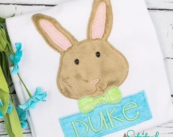 Bunny with Bowtie Applique, Boy Bunny Applique, Rabbit Applique,  Easter Rabbit Applique, Bunny Rabbit Tee, Boys Easter