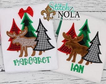 Winter Tree Applique, Trees with Moose Applique, Woodland Applique, Tree Trio with Moose