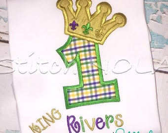 Mardi Gras Themed Birthday King or Queen Number Shirt or Bodysuit