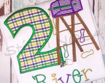 Mardi Gras Themed Birthday Ladder Number Shirt or Bodysuit