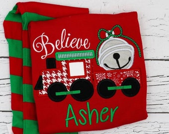 Believe Train Applique Red & Green Christmas Pajamas, Christmas Train Applique Polar Express Pajamas, XMAS Pajamas, Christmas Applique