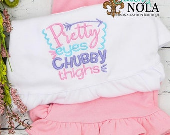 Pretty Eyes And Chubby Thighs Embroidery Top and Bottom Set, Baby Girl Outfit