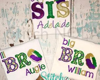 Mardi Gras Themed Sibling Set, Big Bro, Lil Bro, Big Sis, and Lil Sis Applique, Sibling Set, Mardi Gras Baby, Brother and Sister Set