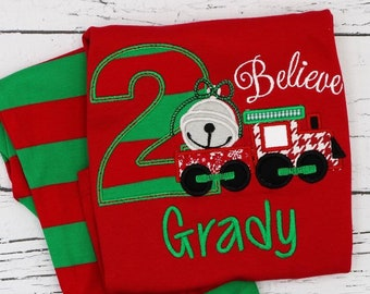 Believe Train Birthday  Applique Red & Green Christmas Pajamas, Christmas Train Birthday  Applique Polar Express Birthday Pajamas, XMAS PJs