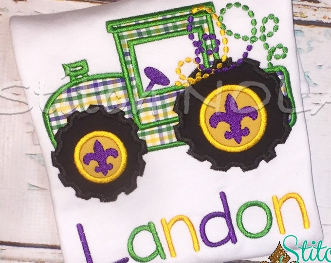 Featured listing image: Mardi Gras Tractor Shirt, Bodysuit or Gown