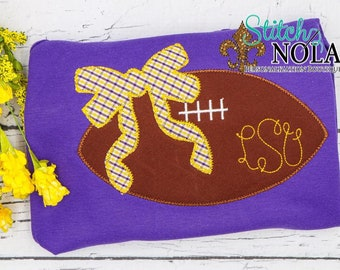Football with Bow Monogram on Colored Shirt, Girly Football Applique, Purple and Gold Football, Personalized Monogrammed Football