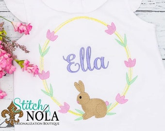 Bunny Flower Wreath Embroidery, Bunny Wreath Monogram, Easter Embroidery, Spring Embroidery, Girl Easter Shirt