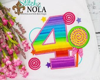 Lollipop Birthday Applique, Sweet Shop Birthday Number, Candy Birthday, Candy Land Birthday, Lollipop Birthday