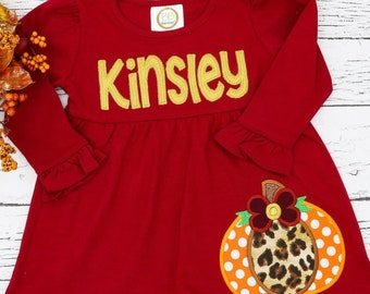 Pumpkin with Bow Applique, Name Applique, Fall Dress, Pumpkin Patch Dress, Pumpkin Dress