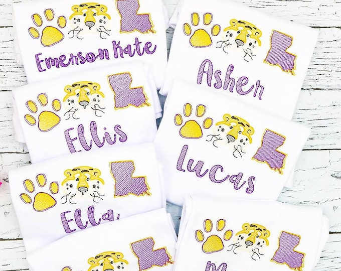 Featured listing image: Tiger Trio Sketch Embroidery, Tiger Football Shirt, Tiger Baseball Shirt, Tiger Trio, Tiger Football