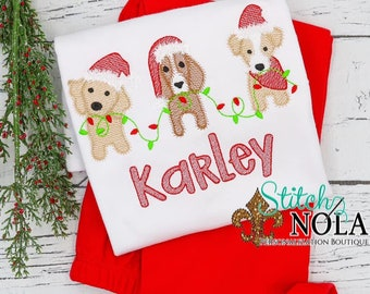 Sketch Christmas Dog Trio Embroidery Shirt and Shorts, Christmas Dogs with Lights Shirt, Christmas Embroidery, Christmas Outfit