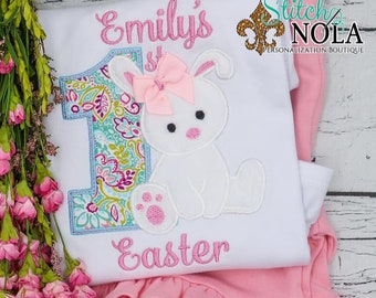 1st Easter Applique Top And Bottom Set, Baby's First Easter, Easter Outfit, Bunny Applique, Girls 1st Easter Outfit