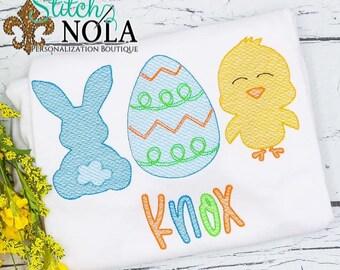 Bunny, Egg, Chick Sketch Trio, Easter Sketch Trio, Easter Embroidery, Boy Spring Embroidery, Boy Easter Shirt