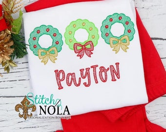 Christmas Wreath Trio Sketch Embroidery Top And Bottom Set, Wreath Embroidery Outfit, Christmas Embroidery, Personalized Christmas Shirt