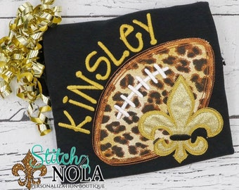 Fleur De Lis Football on Colored Shirt, Girly Football Applique, Black and Gold Football, Personalized Football Applique