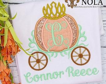 Personalized Pumpkin Princess Carriage Applique, Pumpkin Carriage Applique, Girl Pumpkin Applique, Fall Applique, Pumpkin Patch Outfit